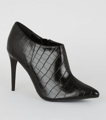 Black Faux Croc Pointed Shoe Boots by New Look