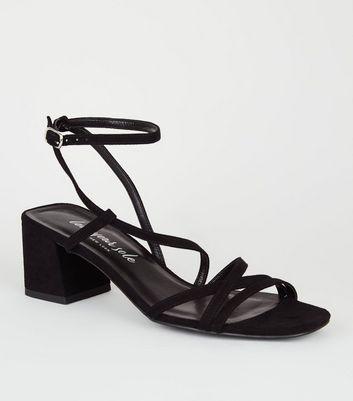 Black Suedette Strappy Mid Heel Sandals
