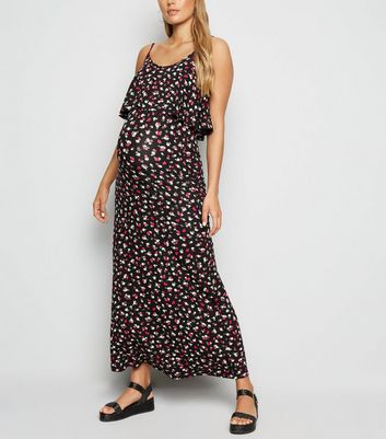 Maternity Black Floral Jersey Maxi Dress