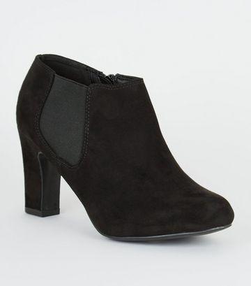 Wide Fit Black Block Heel Chelsea Shoe Boots