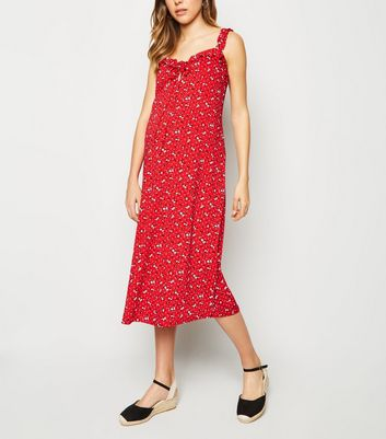 Maternity Red Ditsy Floral Frill Trim Midi Dress