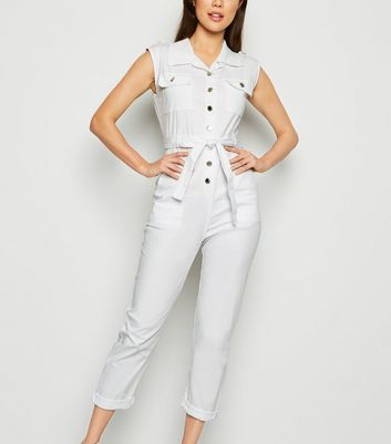 Cameo Rose – Weißer Utility-Jumpsuit