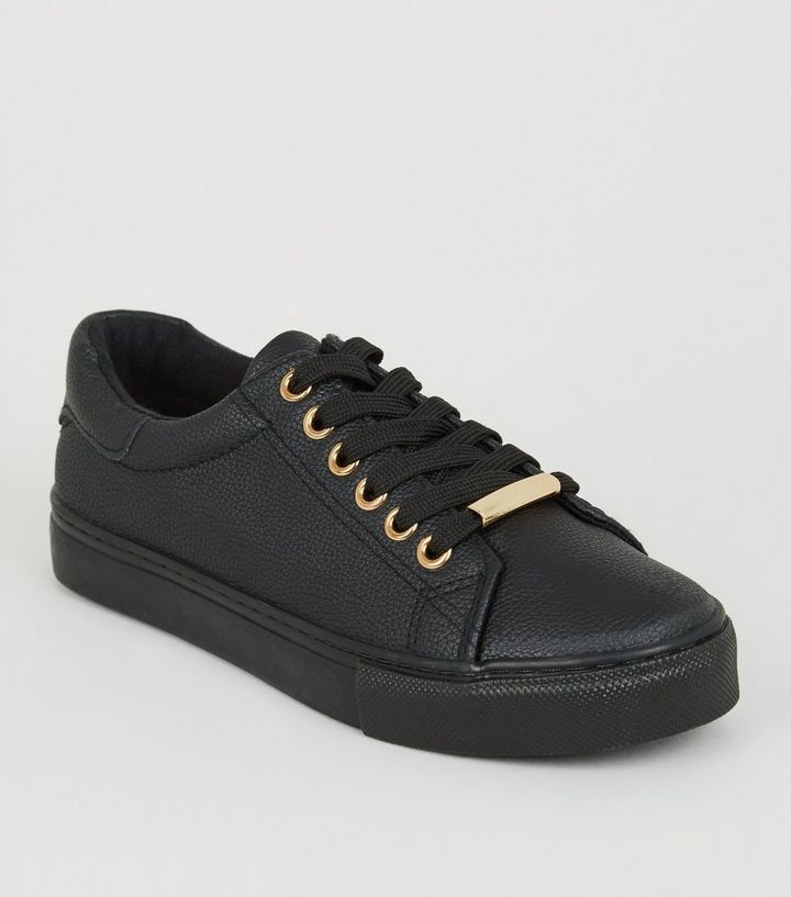 38c3153a3125a Girls Black Leather-Look Lace Up Trainers Add to Saved Items Remove from  Saved Items