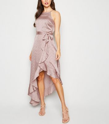 Pink Satin Polka Dot Dip Hem Dress