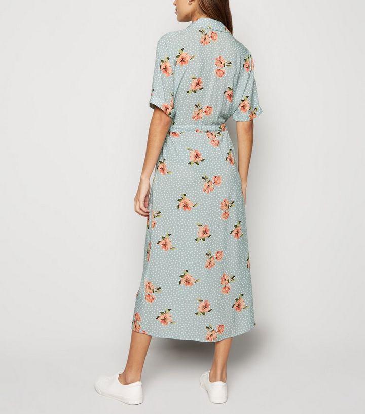 88c0a901936 ... Blue Floral Spot Print Midi Shirt Dress. ×. ×. ×. Shop the look