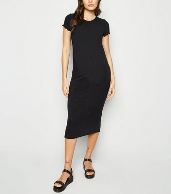 Maternity Black Ribbed Frill Midi Dress