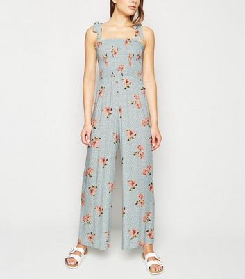 Blue Floral Spot Shirred Jumpsuit