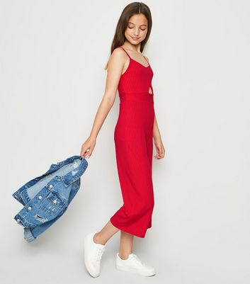 Girls Red Ribbed Cut Out Crop Jumpsuit