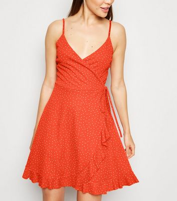 Red Spot Ruffle Wrap Dress