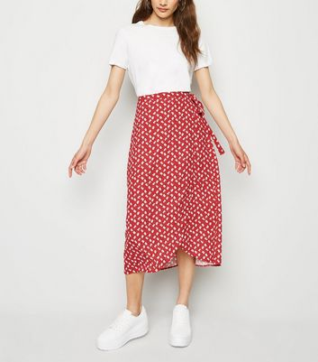 Red Floral Wrap Midi Skirt