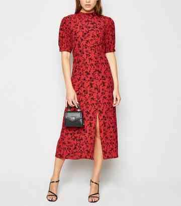 ecd731bb2922 Red Floral High Neck Split Hem Midi Dress ...