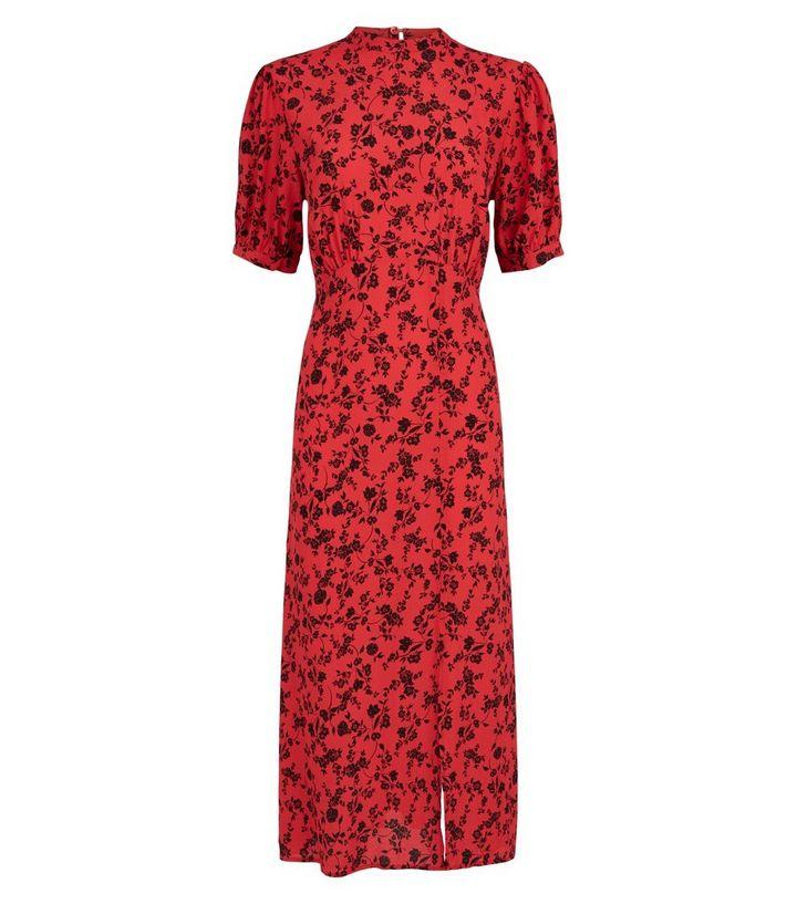 d09659a493f ... Red Floral High Neck Split Hem Midi Dress. ×. ×. ×. Shop the look