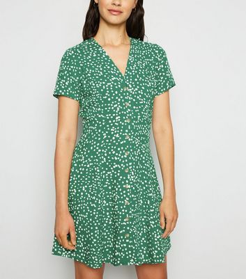 Green Spot Print Button Up Tea Dress