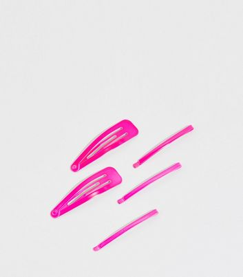5 Pack Bright Pink Neon Hair Clips