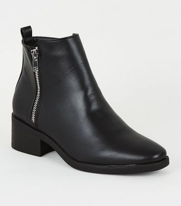 Black Leather Look Low Block Heel Boots by New Look
