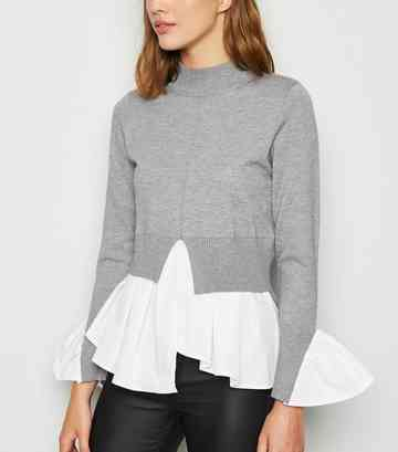 Grey 2 in 1 High Neck Jumper
