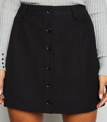 JDY Black Button Front Mini Skirt New Look