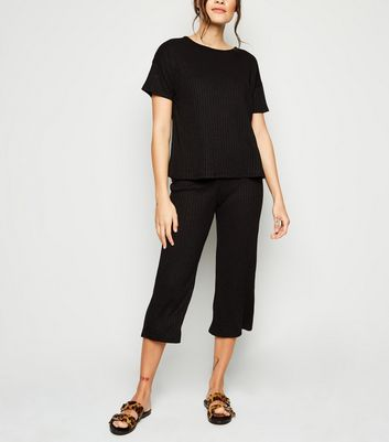 Black Ribbed Crop Trousers