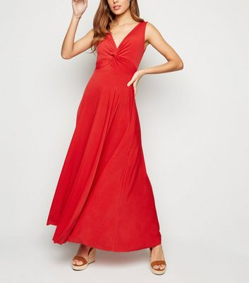 Cameo Rose Red Twist Front Maxi Dress