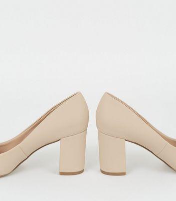 Cream Leather-Look Block Heel Court