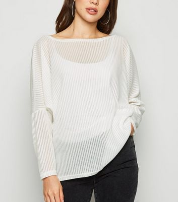 White Fine Knit Batwing Jumper