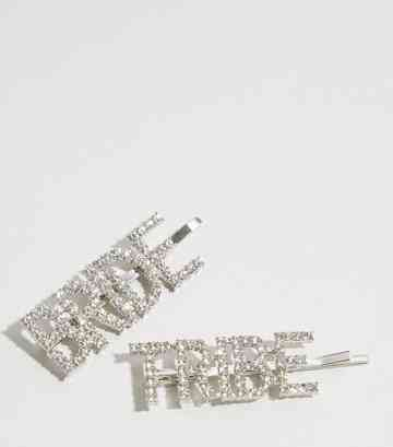 2 Pack Silver Diamanté Bride Tribe Hair Slides