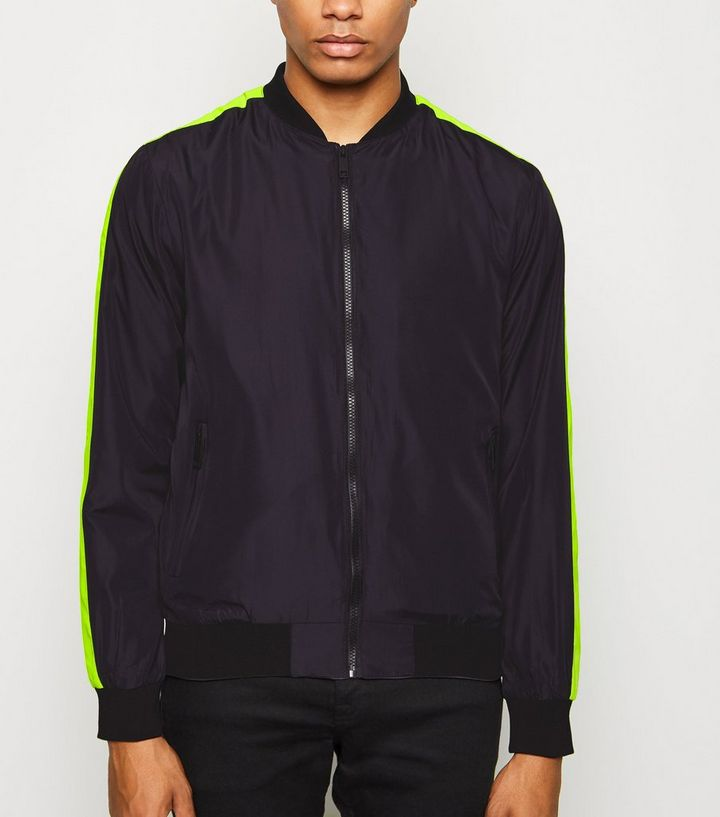 f7d31b19e Black Neon Side Stripe Bomber Jacket Add to Saved Items Remove from Saved  Items