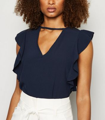 Mela Navy Cut Out Flutter Sleeve Blouse