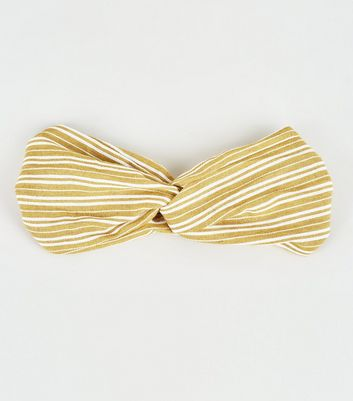 Pale Yellow Stripe Knot Front Headband