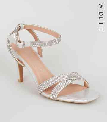 75231f583 Wide Fit Silver Diamanté Strap Heels ...