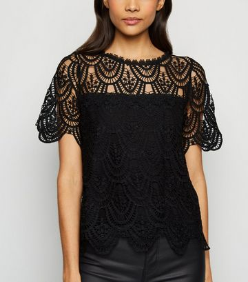 Black Crochet T-Shirt