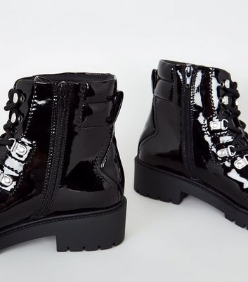 Black Patent Lace Up Chunky Sole Boots