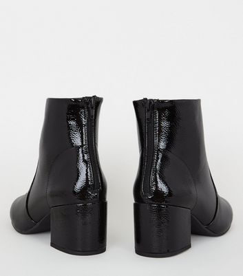 Black Crinkle Patent Heeled Ankle Boots