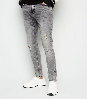 Grey Acid Wash Ripped Super Skinny Stretch Jeans Add to Saved Items Remove from Saved Items