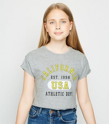 Girls Grey California Slogan T-Shirt
