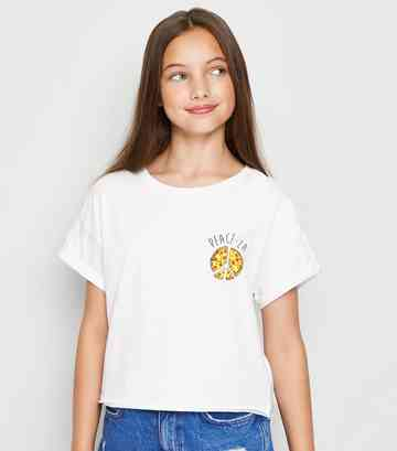 Girls White Peace-za Slogan T-Shirt