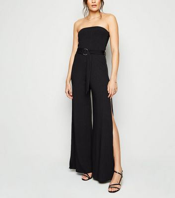 Black Ribbed Belted Split Bandeau Jumpsuit