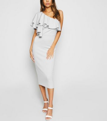 Grey One Shoulder Ruffle Midi Bodycon Dress