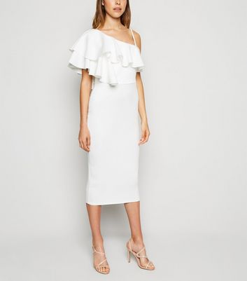 White One Shoulder Ruffle Midi Bodycon Dress