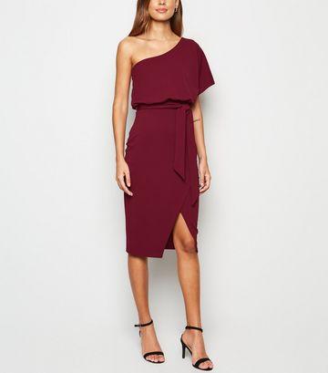 Burgundy One Shoulder Belted Dress