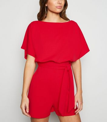 Red Belted Batwing Playsuit