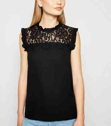 Black High Neck Frill Lace Front Shirt