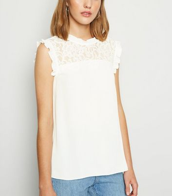 Off White High Neck Frill Lace Front Blouse