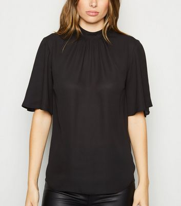 Black High Neck Flutter Sleeve Blouse