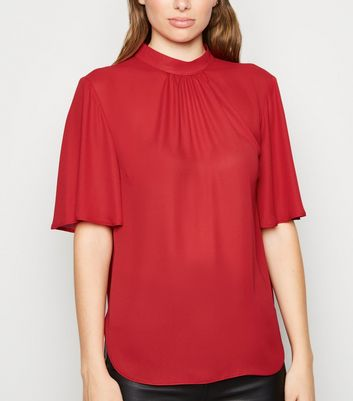 Red High Neck Flutter Sleeve Blouse