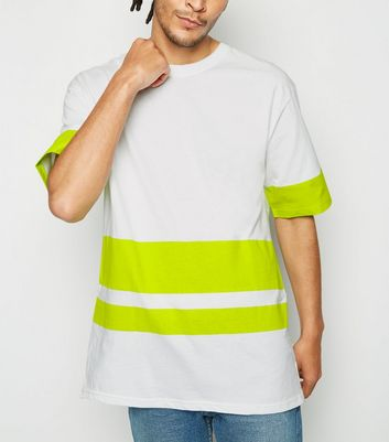 Green Neon Colour Block Stripe T-Shirt