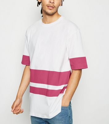 Bright Pink Neon Colour Block Stripe T-Shirt