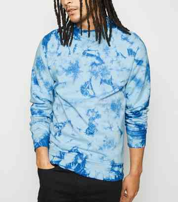 Bright Blue Tie Dye Crew Sweatshirt