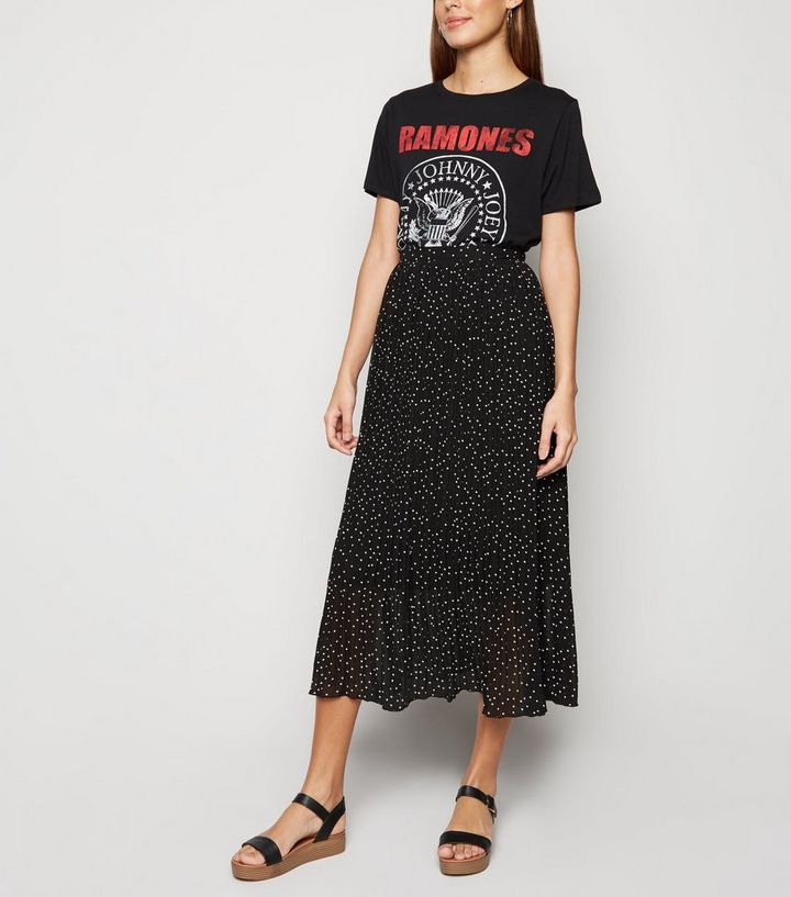 02548aea30ba Black Spot Print Pleated Midi Skirt | New Look