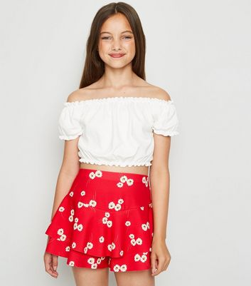 Girls Red Daisy Frill Trim Skort